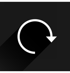 White arrow icon reload on black background vector