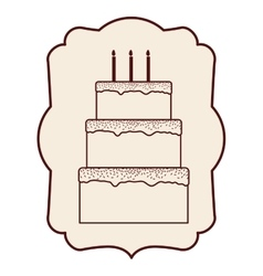 Cake inside frame design vector