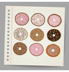 Doodle style donut or doughnut in format set vector