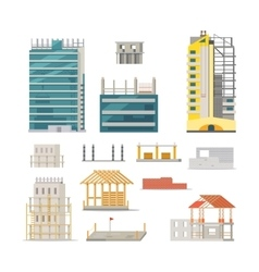 Building stages of modern building construction vector