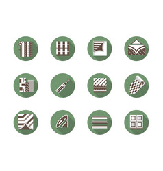 Floor renovation round flat color icons set vector