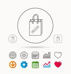 Present shopping bag icon gift handbag sign vector