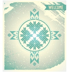 Poster welcome to belarus with ornament vector