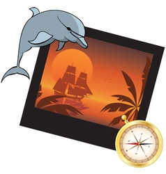 Dolphin compass and photoframe vector