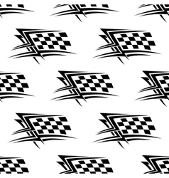 Black and white checkered flag seamless pattern vector