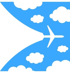 Abstract background with airplane and clouds vector