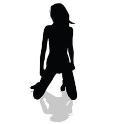 Girl on her knees black silhouette vector