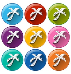 Round buttons with coconut trees vector