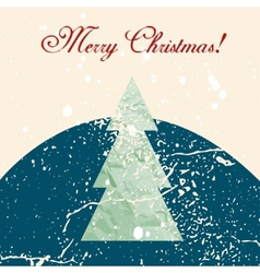 Merry Christmas grunge tree background vector image