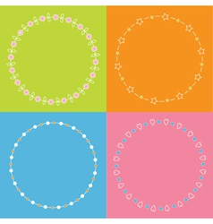 Round frame wreath set daisy flower star leaf dot vector