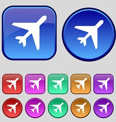 Airplane icon sign a set of twelve vintage buttons vector