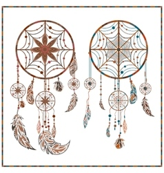 Dream catcher ethnic ornament spider web beads vector
