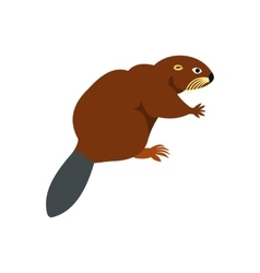 Beaver icon flat style vector