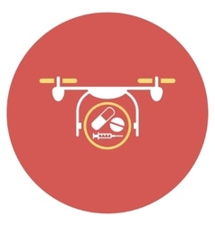 Medication quadcopter flat round icon vector