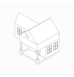 Detached house icon isometric 3d style vector