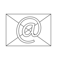 Envelope with e mail sign icon icon outline style vector