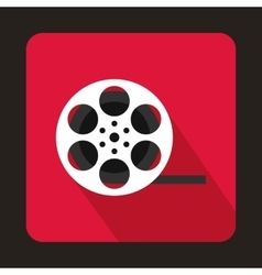 Film reel icon in flat style vector