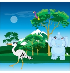 African landscape with animal vector