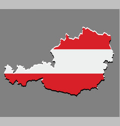 austria map with the austrian flag vector image