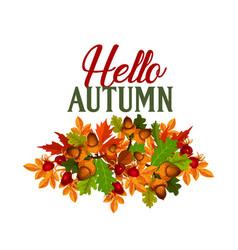 autumn seasonal maple leaf foilage poster vector image