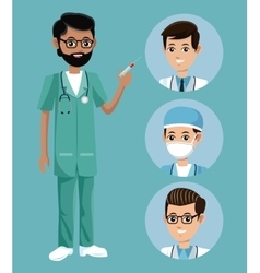 Bearded nurse male syringe staff vector