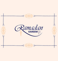beautiful ramadan kareem text design background vector image