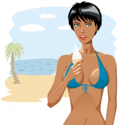 Bikini girl with ice-cream 03 vector image
