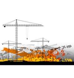 Black silhouettes of cranes on the background vector