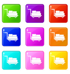 Cart with luggage icons 9 set vector