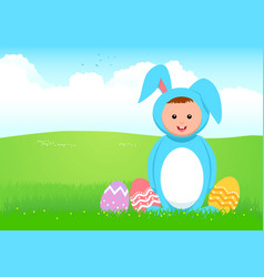 cartoon of a kid in rabbit costume vector image