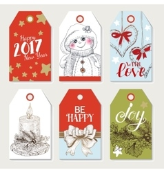 Christmas colorfull tags set vector