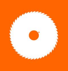 Circular saw blade white icon vector