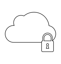 Cloud data security system technology outline vector