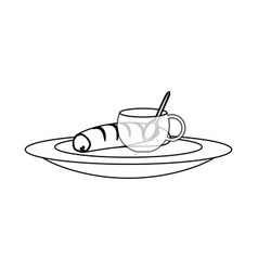 Coffee cup and bread vector