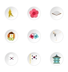 Country of south korea icons set flat style vector