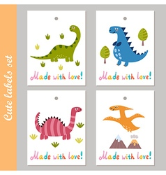 Cute labels set with funny dinosaur vector image