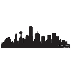 dallas texas skyline detailed silhouette vector image vector image