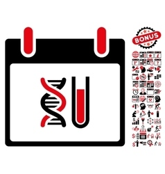 Dna analysis calendar day flat icon with vector