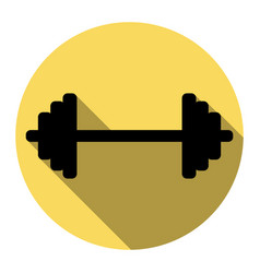 Dumbbell weights sign flat black icon vector