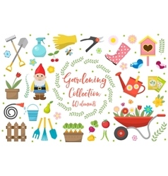 Gardening icons set design elements Garden tools vector image
