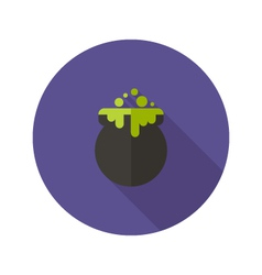 Halloween witch pot flat icon vector