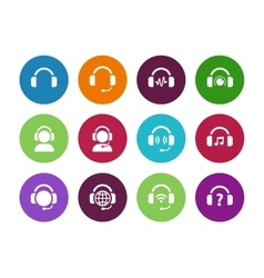 Headset circle icons on white background vector image vector image
