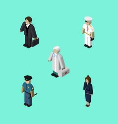 isometric people set of seaman businesswoman vector image vector image