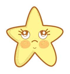 kawaii thinking star with cute eyes vector image vector image