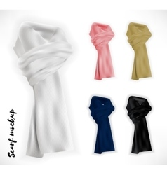 Knitted scarf set mockup vector