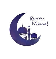 Mosque and moon ramadan symbol vector