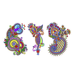 Paisley flower pattern in ethnic style indian vector