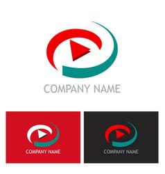 play button abstract technology logo vector image