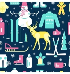 Seamless pattern with winter icons vector