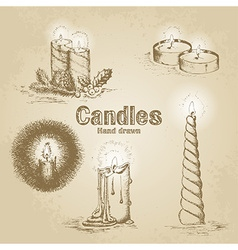 Set of vintage candle vector image vector image